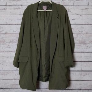 H&M Woman's Vintage Army Green Open Front Long Coat Size 4X